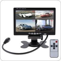 7 Inch 4 Split Quad Video Displays + Automatic Identify Input Signal TFT LCD Car Monitor with Stand-alone Headrest