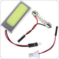 6W 12V COB White Light LED Car Reading Lamp Interior Panel Lamp with T10 Festoon Dome Adapter