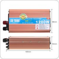 1200W  DC 12V 24V to AC 220V 110V  Antioxidant Aluminum Alloy Case Car Power Inverter with USB Charging Port