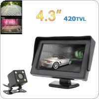 4.3 Inch HD 480 x 234 Resolution 2-Channel Video Input TFT-LCD Car Monitor + 170 Degrees Wide Angle Lens Night Vision Rear View Camera