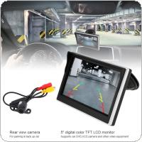5 Inch Car TFT LCD Monitor  800*480 16:9 Screen 2 Way Video Input  + Water-Resistant Car Rear View Camera