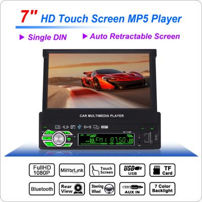 Universal 7 Inch 1 Din Bluetooth HD Touch Auto Retractable Screen Car Video Stereo Player Support Mirror Link / Aux In / Rear View Camera