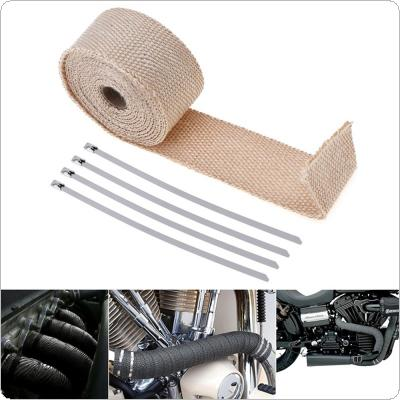 5m Exhaust Header Pipe Tape Wrap Heat Manifold Insulation Cloth Roll with 4 Stainless Ties for Motorcycles