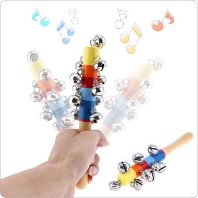 Colorful Wooden Bell Stick 11 Jingle Bells Hand Shake Rattles Baby Kids Children Educational Musical Instrument Toy