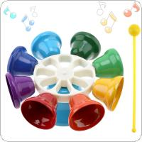 Colorful 8 Note Percussion Bell Hand Bell Musical Toy Children Baby Early Education Musical Instrument
