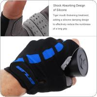 GUB Blue Anti-slip Breathable Lycra Cycling Half Finger Gloves with Shockproof Gel Padding for MTB Bicycle