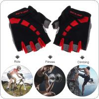 GUB Red Anti-slip Breathable Lycra Cycling Half Finger Gloves with Shockproof Gel Padding for MTB Bicycle