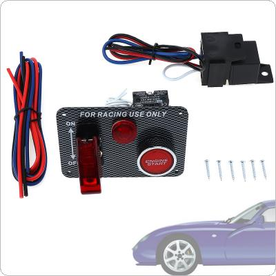 9.5cm Car Codification LED One Button Start with Light Ignition Carbon Fiber Panel Three In One Combination Switch