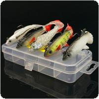5pcs/box Colorful Soft Lure Suit Kit 9.3g / 14g Artificial Bait Silicone Fishing Lures with 1 Piece Luminous Lure