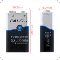 PALO 9V 6F22 300mAh Ni-MH Rechargeable Battery with 3A Charging Current for Multimeter / Wireless Microphone / Alarm
