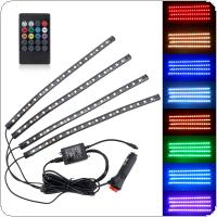 5050-18smd 8 Colors RGB Music Control Car Interior Decoration Lamp LED Automobile Chassis Lights Bar Neon Strip with Remote