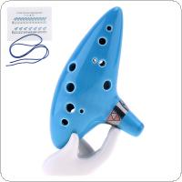 Alto 12 Hole Ocarina Ceramic ToneC Flute Sky Blue Instrument with Neck Strap Cord and Music Book