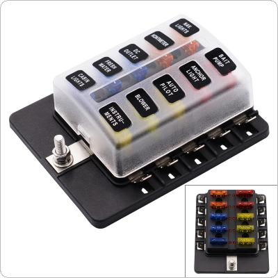 Max 32V Plastic Cover 10 Way Blade Fuse Box Holder M5 stud with LED Indicator for Car Boat Marine