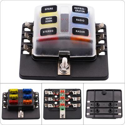 Max 32V Plastic Cover 6 Way Blade Fuse Box Holder M5 stud with LED Indicator for Car Boat Marine