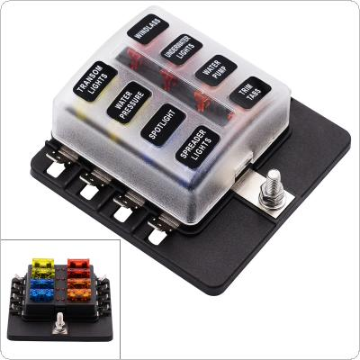Max 32V Plastic Cover 8 Way Blade Fuse Box Holder M5 stud with LED Indicator for Car Boat Marine