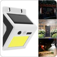 Outdoor Waterproof 4W COB LED Rechargeable Solar Power PIR Motion Sensor Wall Light with Micro USB Charge for Garden / Yard / Driveway