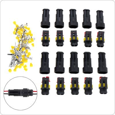 10pcs/set 2 Pin Way AMP Super seal Waterproof Electrical Wire Connector Plug