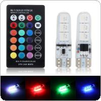 2pcs T10 5050 LED RGB Multi-color Interior Wedge Side Light Strobe with Remote Control for Car