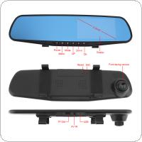 4.3 Inch 1080P Full HD 32GB Rearview Mirror Dual Channel Recorder Support Cyclic Recording Motion Detection Night Version and G Sensor