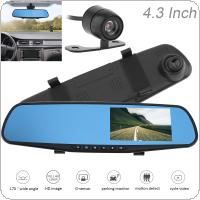 "4.3"" 1080P Full HD 32GB Rearview Mirror Dual Channel Recorder Support Cyclic Recording Motion Detection Night Version and G-sensor"