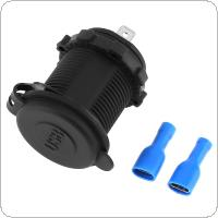 5V 4.2A Waterproof Double Aperture USB Vehicular Charger Adapter Applicable for Auto / Motorbike / Boat