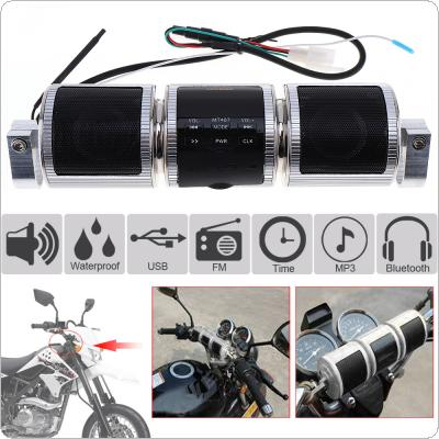 Waterproof Silver Aluminum Motorcycle Bluetooth Music Player with FM Radio and  MP3 / USB / Earphone Interfaces for Motorcycle