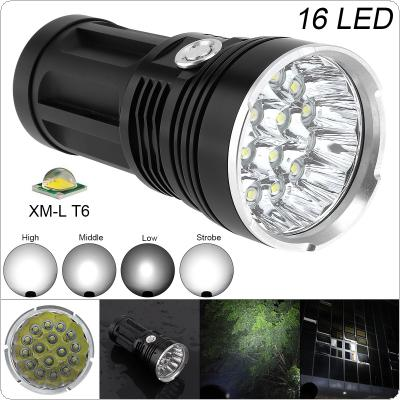 Super Bright 16x XM-L T6 LED 4800Lumens Aluminum Waterproof Flashlight Torch with 4 Modes Light Support 18650 Rechargeable Battery for Backpacking / Fishing