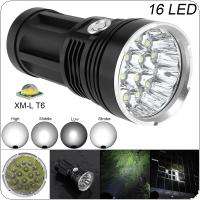 Super Bright 16x XM-L T6 LED 2000Lumens Aluminum Waterproof Flashlight Torch with 4 Modes Light Support 18650 Rechargeable Battery for Backpacking / Fishing