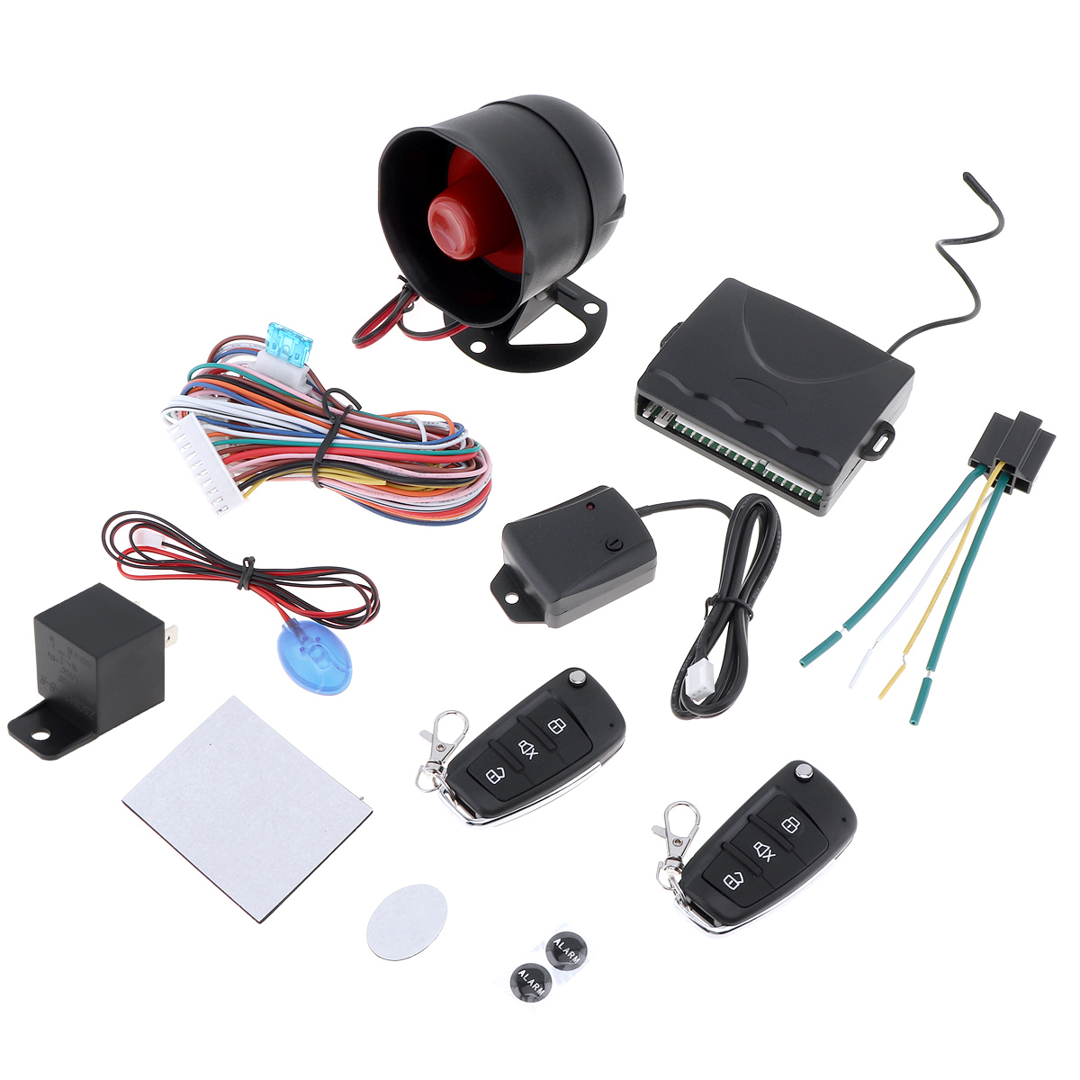 Universal 12V Auto Car Alarm Keyless Entry System with Remote Control Siren Sensor