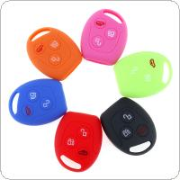 6 Colors 3 Buttons Round Silicone Car Key Case Fit for Ford Series Focus  Mondeo  Festiva  Fusion  Suit  Fiesta  KA