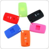 6 Colors 3 Buttons Silicone Folding Car Key Cover Fit for Citroen C2 / C3 / C4 and Picasso Xsara C5 / C6 / C8