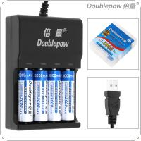 Doublepow 4 Slots USB Charger with LED Indicator  + 4pcs Ni-MH AA R6 3000mAh Rechargeable Batteries + Portable Battery Box for Alarm / Clock / Wireless Mouse