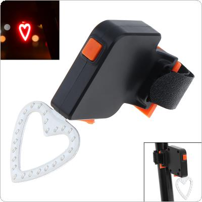 Waterproof  COB LED Heart Shape USB Rechargeable Bicycle Red Rear Light  with 5 Lighting Modes for Bicycle