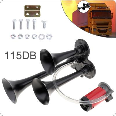 12V 115dB Super Loud Triple Tone Air Horn Set Trumpet Compressor for Motorcycle Car Boat Truck