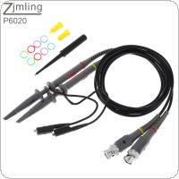 2pcs P6020 Oscilloscope Probe Kit 20MHz / 200-600V Scope Clip Test Probe Cable 1X / 10X Switchable for Electronic Measuring Instruments