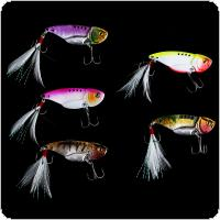 5pcs 5.5cm 12g Fishing Lure VIB Spoon Blade Metal Baits with Treble Hooks for Carp Sea Bream Bass Fish
