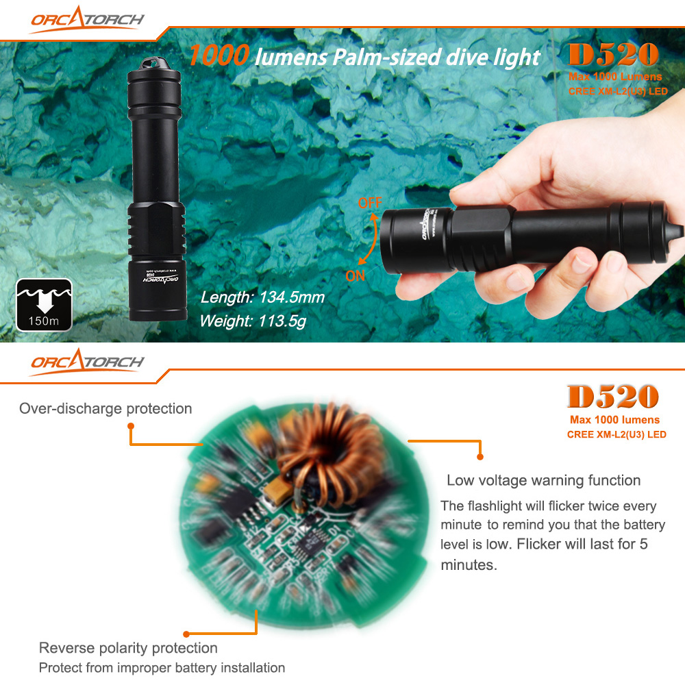 ORCATORCH D520 Waterproof 1000 Lumens CREE XM-L2 U4 LED Underwater 150m Diving Flashlight Suite with Shock Resistant for Professional Diving