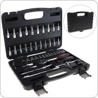 46pcs Automobile Motorcycle Car Repair Tool Box Precision Socket Wrench Set Ratchet Torque Wrench Combo Tools Kit for Auto Repairing