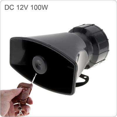 12V 100W 7 Sound Loud Car Warning Alarm Police Fire Siren Horn Speaker with Brown Remote Controller