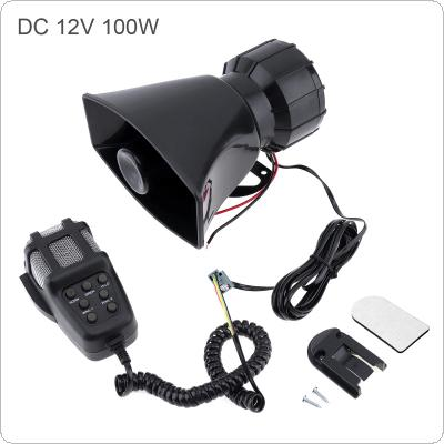 100W 12V 7 Sound Car Electronic Warning Siren Motorcycle Alarm Firemen Ambulance Loudspeaker with MIC