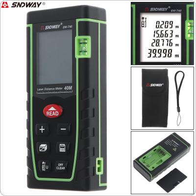 SW-T40 40m Portable Multi-function Laser Distance Meter Support Single Distance and Continuous Measuring for Distance / Area / Volume / Pythagoras Measurement