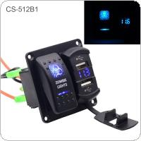 4.2A Dual USB 5 PIN Zombie Lamp Switch Combination Panel  for Car Truck Boat