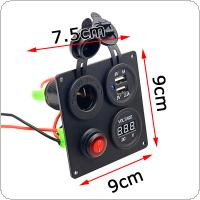 5V 3.1A Aluminium Plate Independent Switch Dual USB Combination Panel with Voltmeter for Car Truck Boat