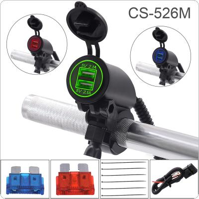 21W 4.2A 5V Dual USB Vehicle Mobile Handlebar Charger with Double Aperture for Motorcycle / ATV