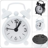 40mm Mini Home Outdoor Portable Cute Metal Small Round Desk Alarm Clock with Button Battery