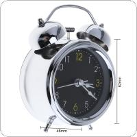 3 Inch Portable Pro Environment Silver Plating Bell Alarm Clock with Night Light Support AA Battery