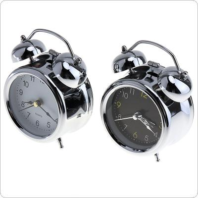 3 Inch Portable Pro-environment Silver Plating Bell Alarm Clock with Night Light Support AA Battery