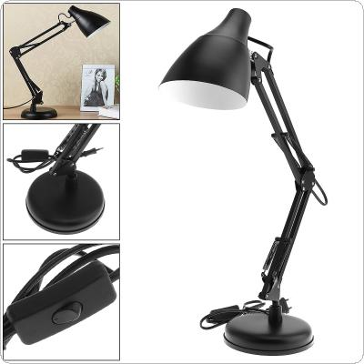 Black E27 Flexible Swing Arm Desk Lamp with Light Base And Clamp Mount Support 360 Degree Rotation for Office  / Home