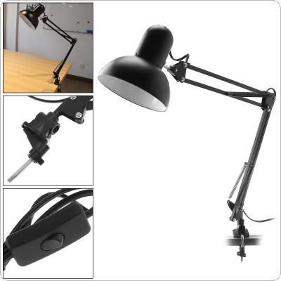 Black E27 Flexible Swing Arm Desk Lamp with Rotatable Lamp Head And Clamp Mount Support 360 Degree Rotation for Office / Home