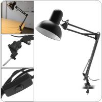 Black E27 Flexible Swing Arm Desk Eye Protection Lamp with Rotatable Lamp Head And Clamp Mount Support 360 Degree Rotation for Office / Home